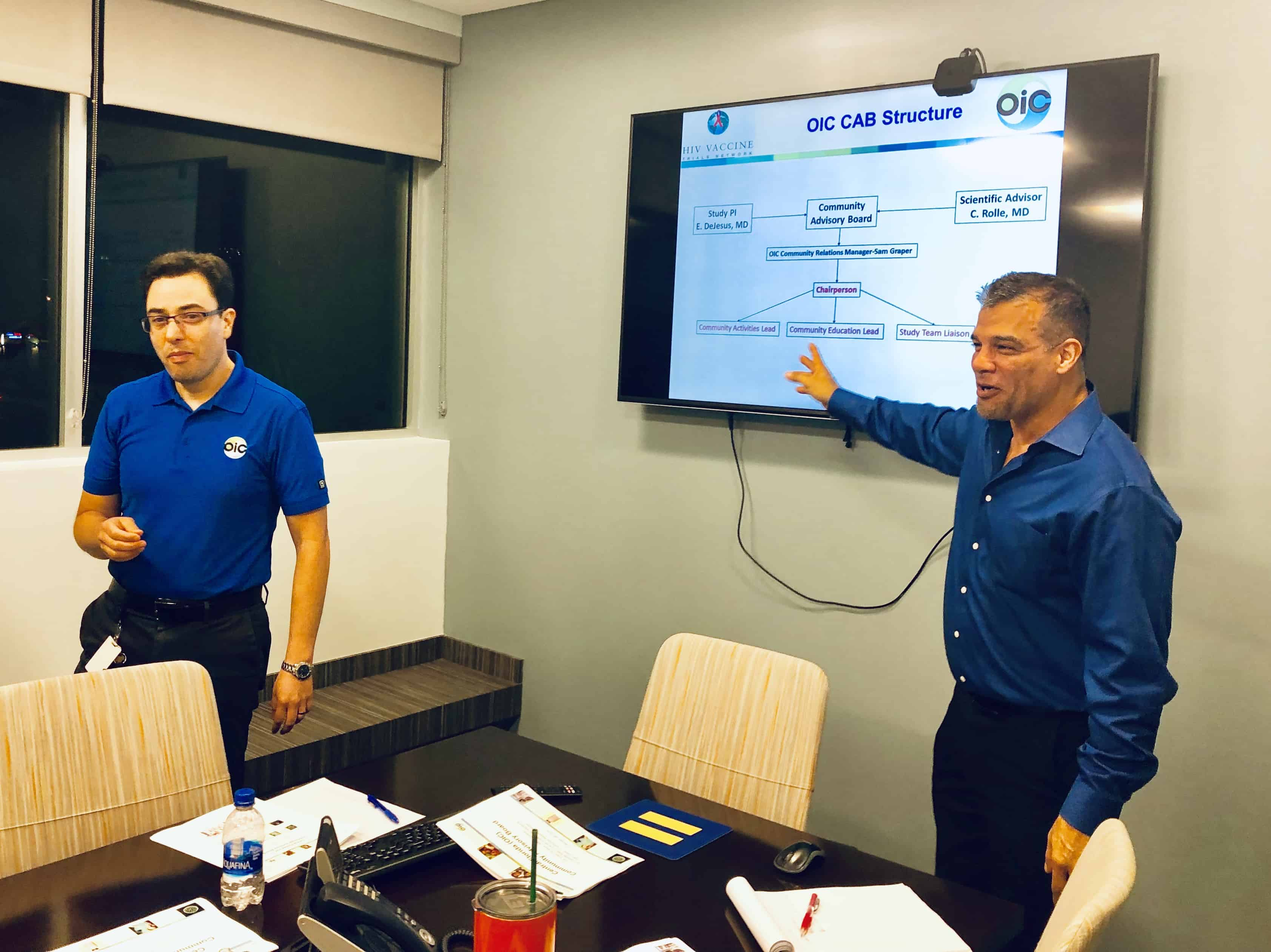 Dr. Edwin DeJesus and Dr. Frederico Hinestrosa discussing the structure of the CAB